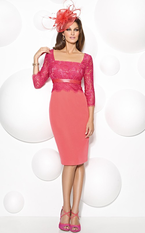 square-neck Lace 3-4-sleeve Pencil short Dress With cape