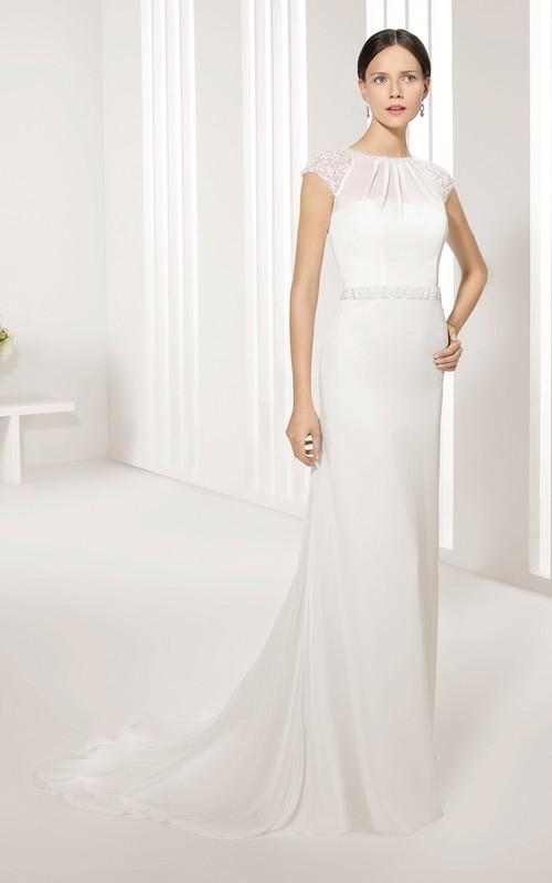 Cap-Sleeved Keyhole-Back Jewel-Neck Column Dress