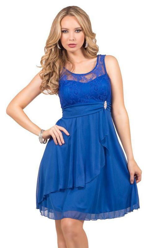 Sleeveless A-line Sleeveless Layered Lace Detail Dress