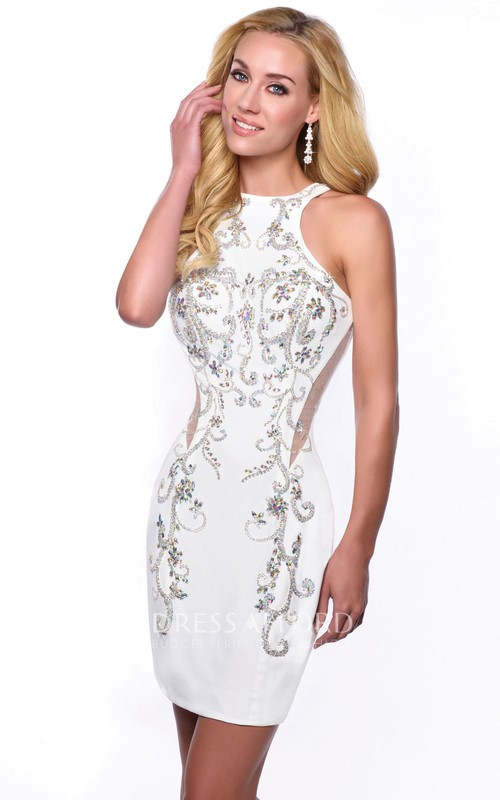Jewel Neck Sleeveless Short Sheath Homecoming Dress With Iridescent Embellishment