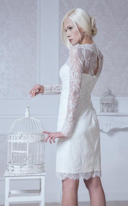 Column Long-Sleeve Short High-Neckline Lace Dress