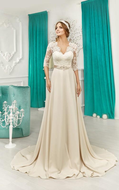Lace-Top Satin Short-Sleeve V-Neckline V-Back Dress
