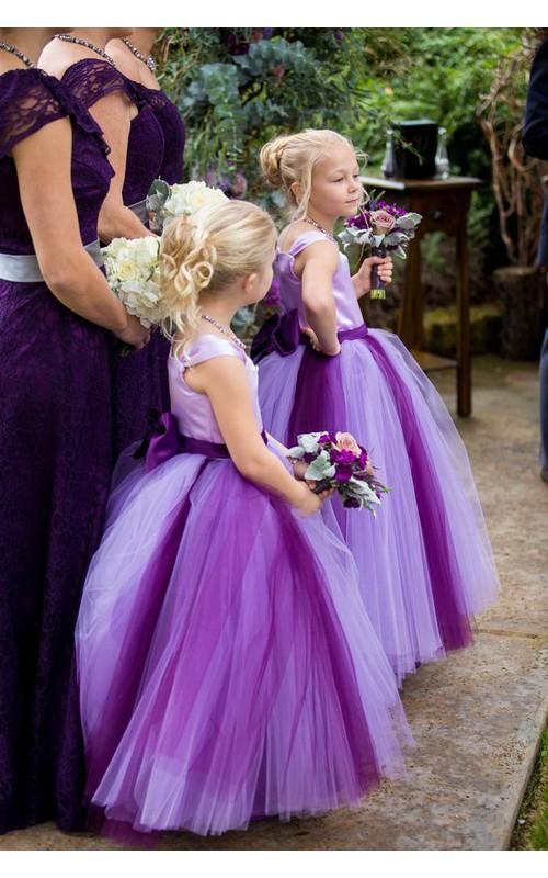 Princess Cap Sleeve Tulle Lovely Bowknot Flower Girl Dress
