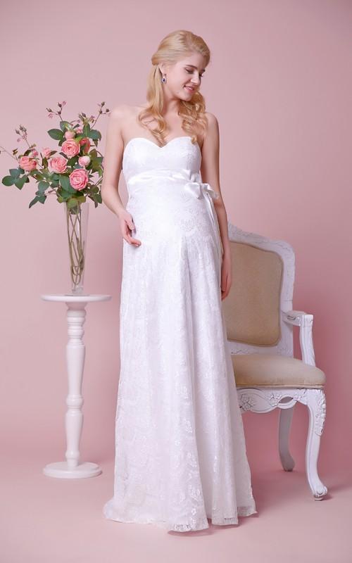 Lace Satin Bow High-Waist Strapless Floor-Length Dress