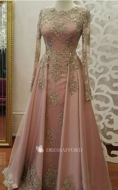 Modest Jewel Long Sleeve Lace Tulle A-Line Dress
