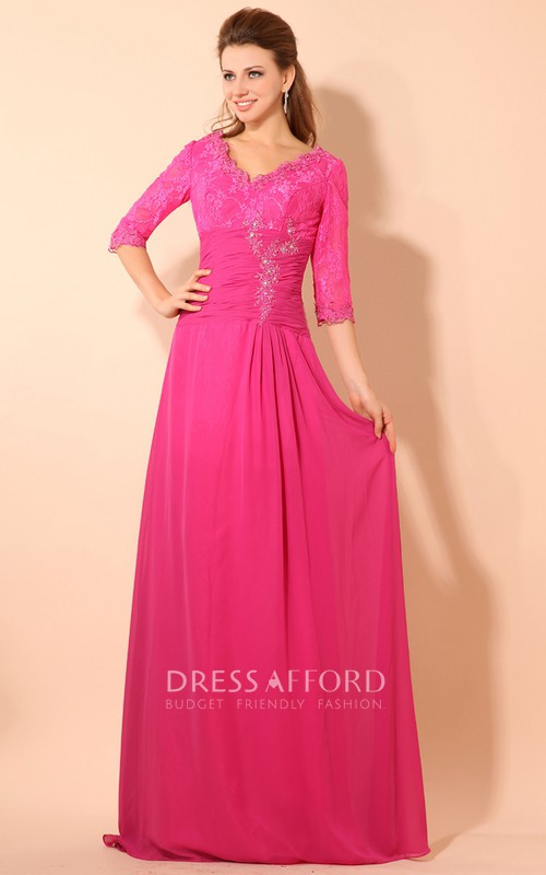 V-Neckline Ruched Waist Lace Short-Sleeve Floor-Length Dress