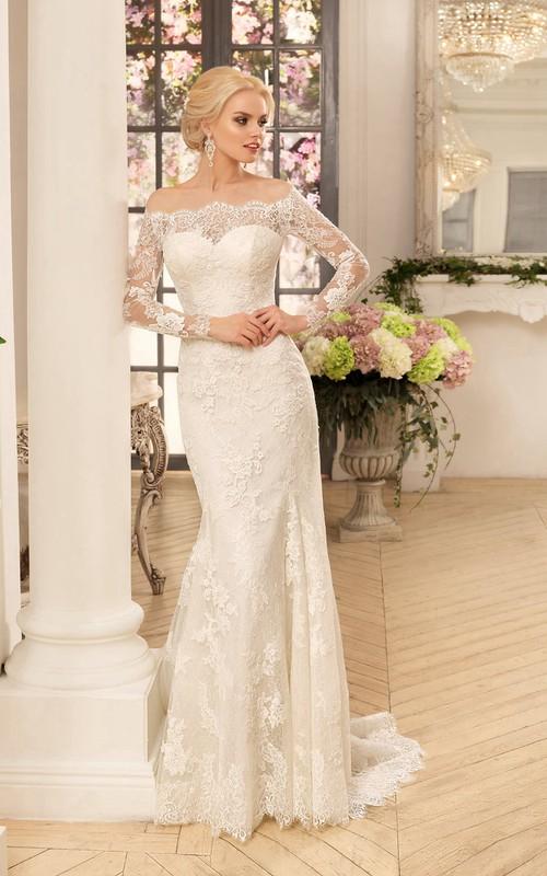 Long-Sleeve Appliqued Long Sheath Lace Gown