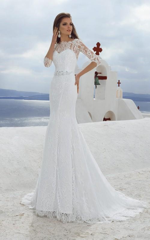 Lace Rhinestone Long-Length-Sleeve Bateau-Neckline Gown
