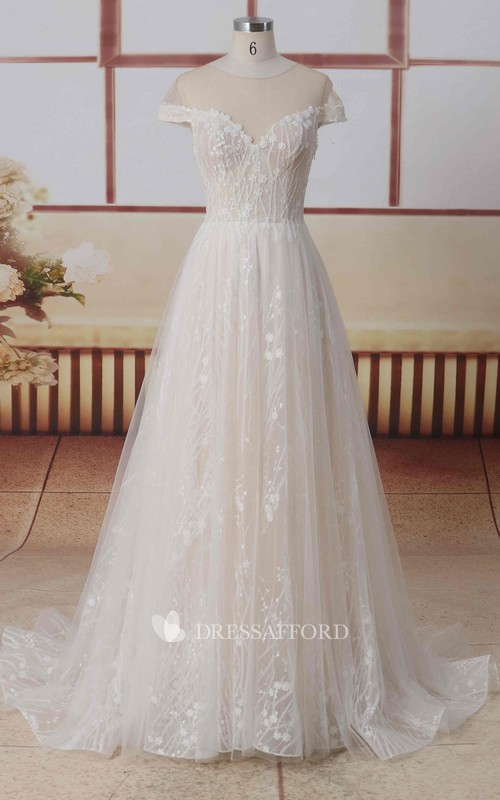Tulle Jewel Neck Short Illusion Sleeves A-line Lace Wedding Dress With Illusion Back And Pleats