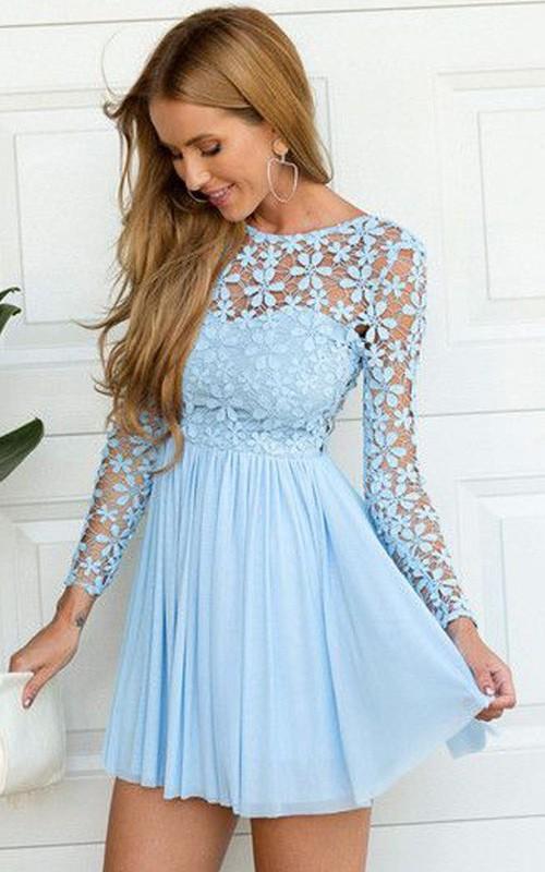 Long Sleeve A-line Short Mini Jewel Pleats Ruching Chiffon Lace Homecoming Dress