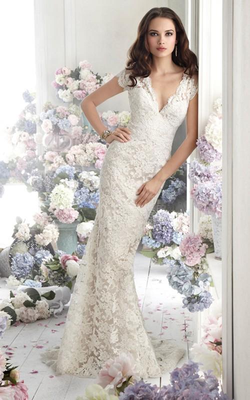 Over Short Sleeve Sheer Back V-Neckline Captivating Gown