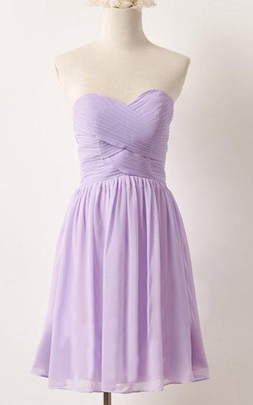 Sweetheart Criss-cross ruched short A-line Bridesmaid Dress