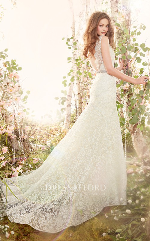 Lace Crystal Ribbon Belt V-Neckline Delicate Gown