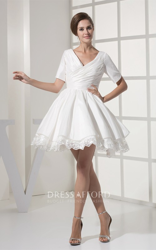 Criss-Cross Appliqued V-Neckline Short-Sleeve Mini Dress