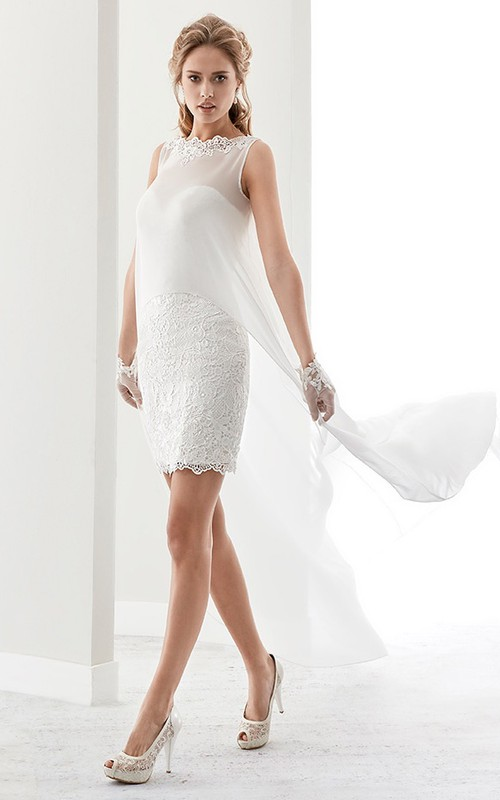 Bateau Sleeveless Pencil short Dress With Lace And cape