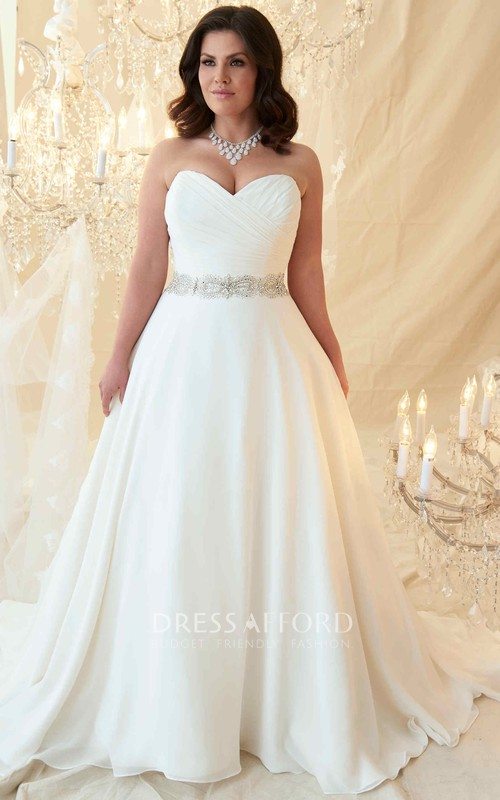 Sweetheart Criss cross Chiffon Wedding Dress With Embellished Waist