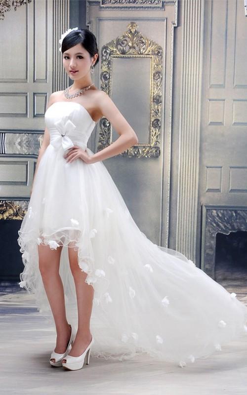 High-Low Bow Flower Strapless Lovely Tulle Dress