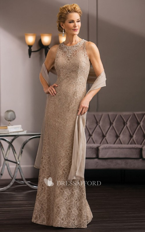 Jewel-Neck Sleeveless Lace Sheath Mother of the Bride Dress With Zipper
