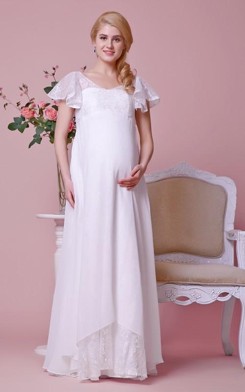 High-Waist Lace Bodice V-Back V-Neckline Gown