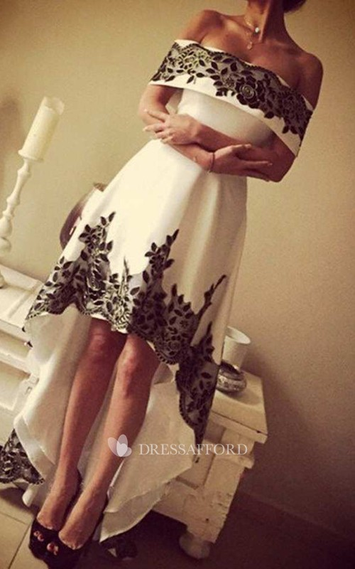 A-line High-low Off-the-shoulder T-shirt Short Sleeve Satin Dress with Pleats