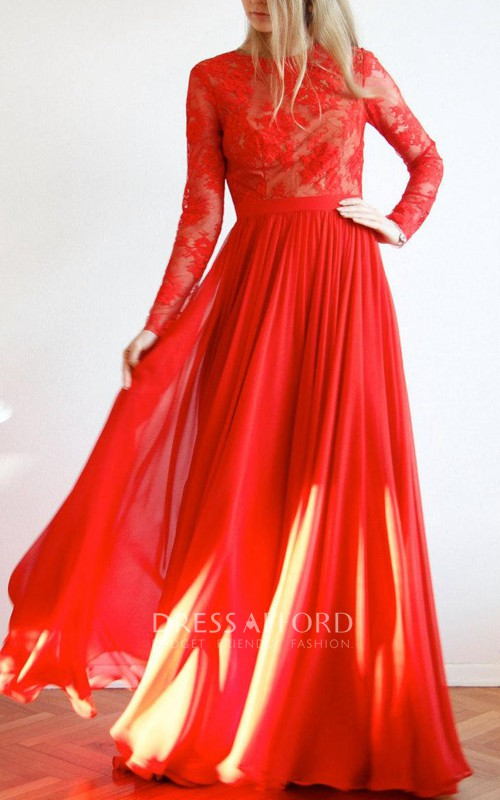 Jewel-Neck Lace Long Sleeve Chiffon Floor-length Dress With Keyhole back