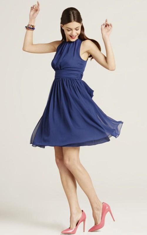 Jewel-Neck Sleeveless Chiffon A-line short Dress With bow