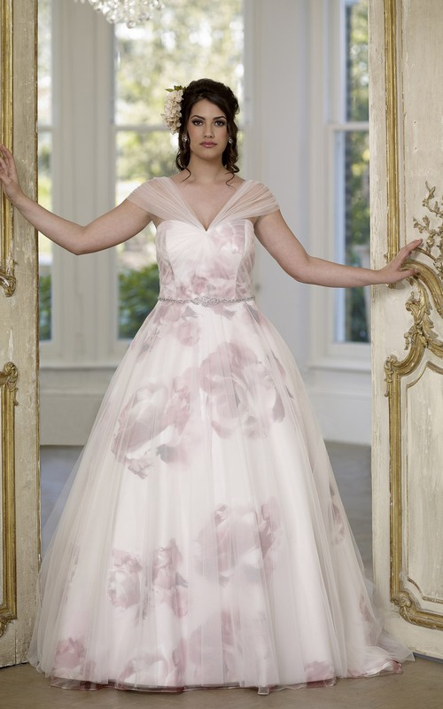 V-Neckline Satin Lace-Up-Back Ball-Gown Princess Long-Train Tulle Dress