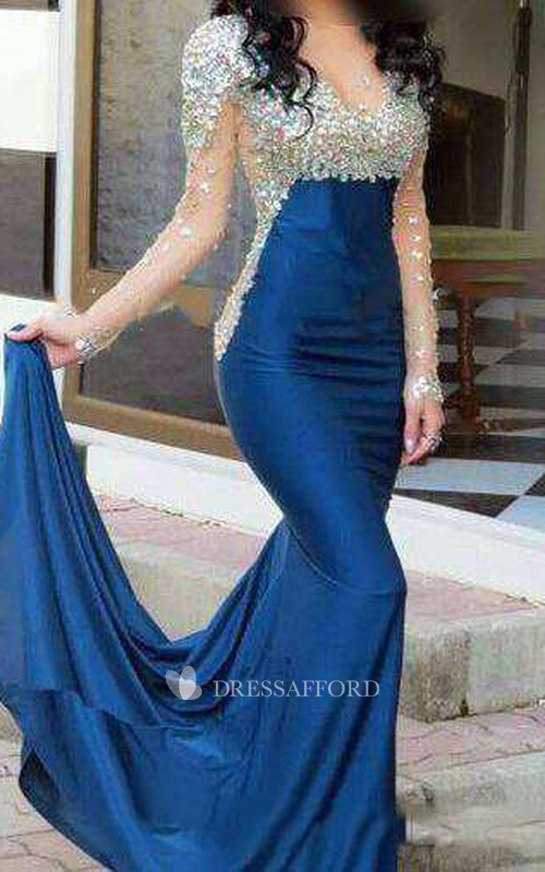 Mermaid Court Train High Neck Illusion Long Sleeve Jersey Dress with Beading