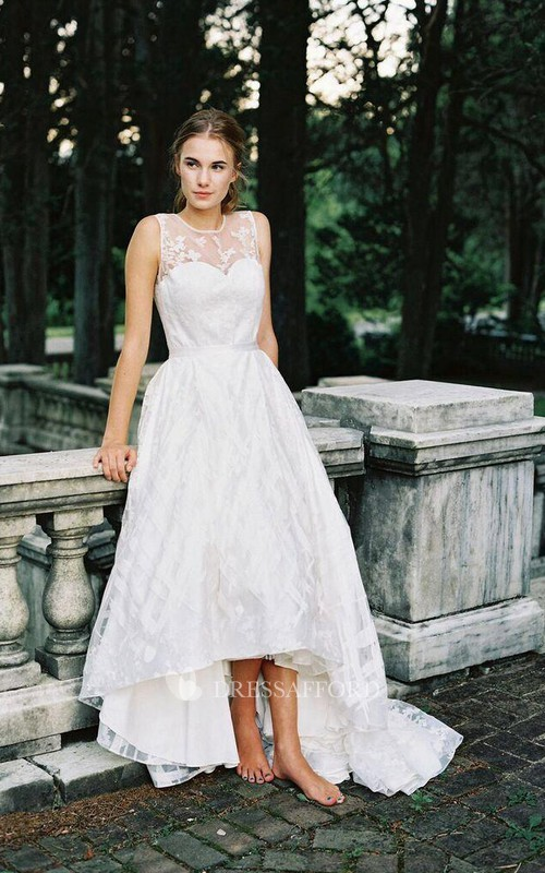 A-Line Appliqued Sleeveless Jewel High-Low Gown