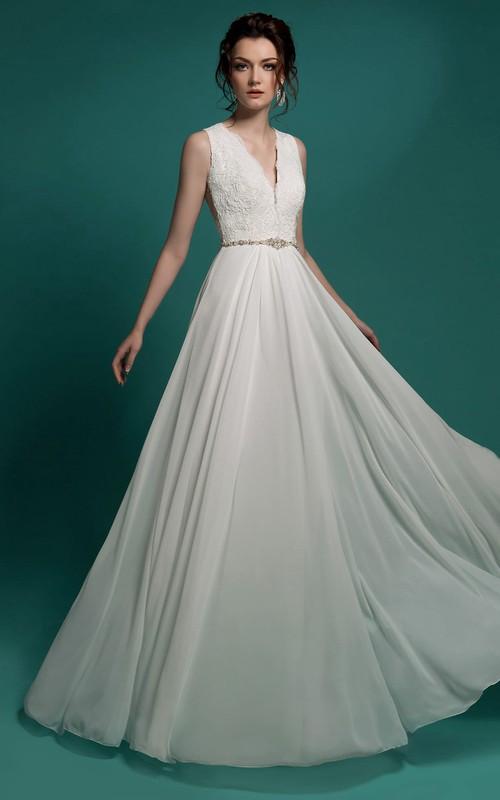 Sleeveless Beaded Lace Appliques Floor-Length A-Line Chiffon Dress
