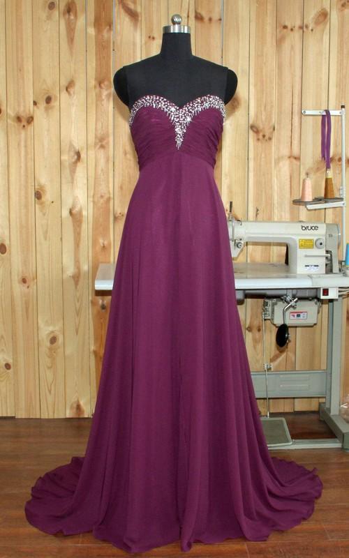 Sweetheart Beaded Chiffon Floor-Length Empire Sleeveless Dress