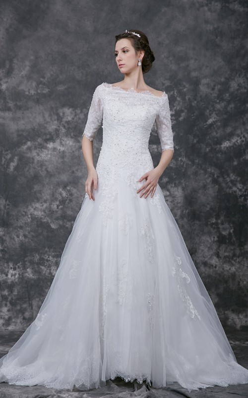 Tulle Lace Appliqued Beading Short-Sleeve Illusion Gown