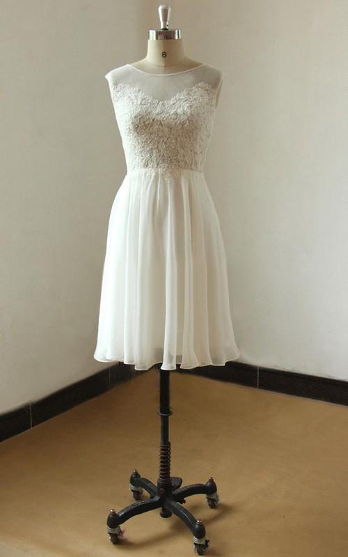 Chiffon Illusion Wedding Short-Midi Mini Lace Gown