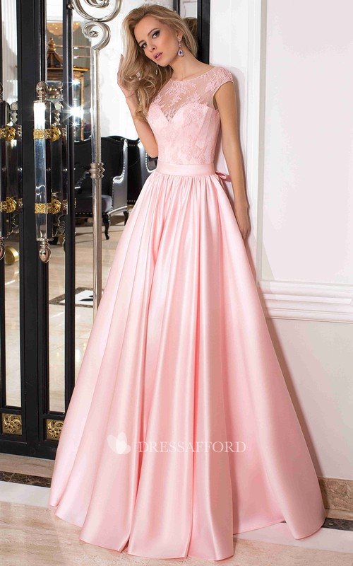 A-line scoop-neck Satin Dress With back bow And lace top