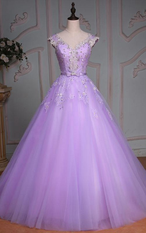 V-Neck Lace Tulle Bell Cap Floral Jeweled Corset Ball Gown