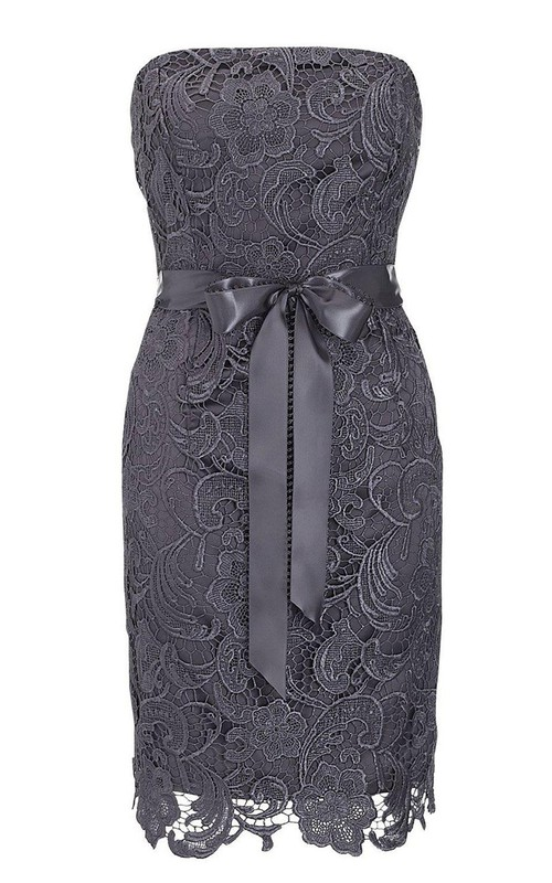 Strapless Lace Pencil short Dress With bow