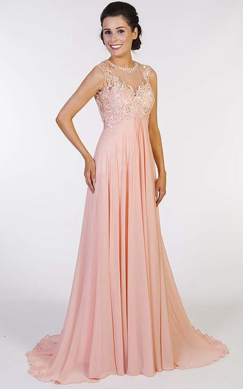 Jewel Neckline Sleeveless Empire Chiffon Dress With Beading And Keyhole