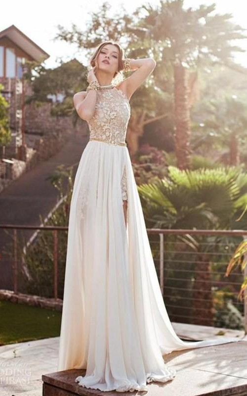Sleeveless Es Brush-Train Princess A-Line Chiffon Gown