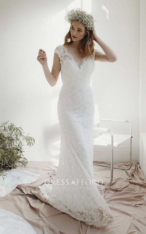 Lace Sheath Deep V-neck Cap Sleeve Bridal Gown With Deep V-neck And Court Train