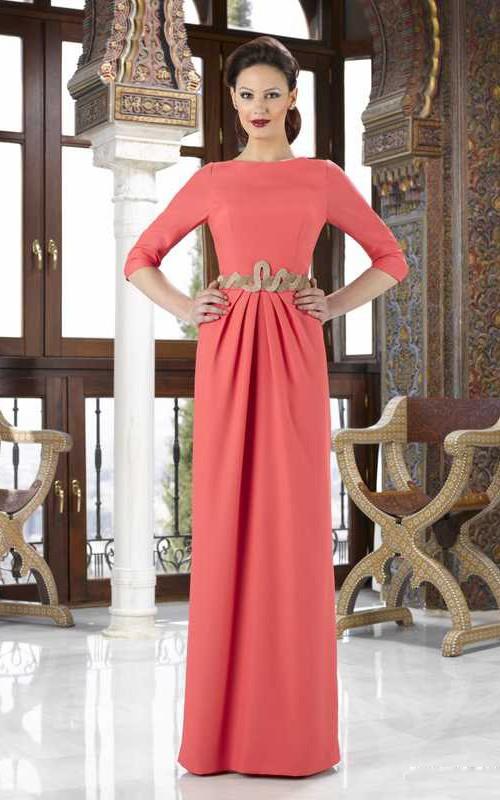 sheer Bateau 3-4-sleeve Dress With Draping And Jeweled Waist