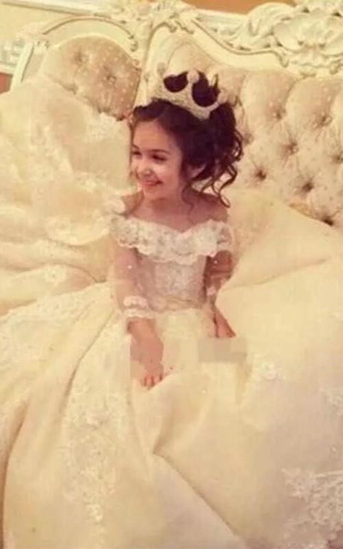 Ball Gown Off-the-shoulder Corset Flower Girl Dress