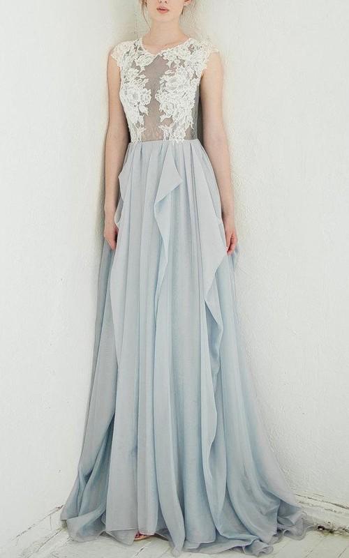 Lace Top Illusion Back Scoop-Neck A-Line Dress