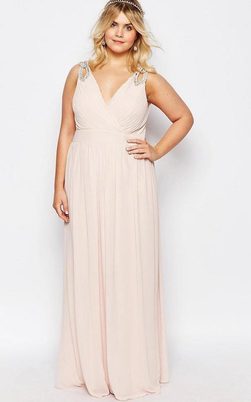 Maxi Beaded V-Neck Sleeveless Chiffon Bridesmaid Dress
