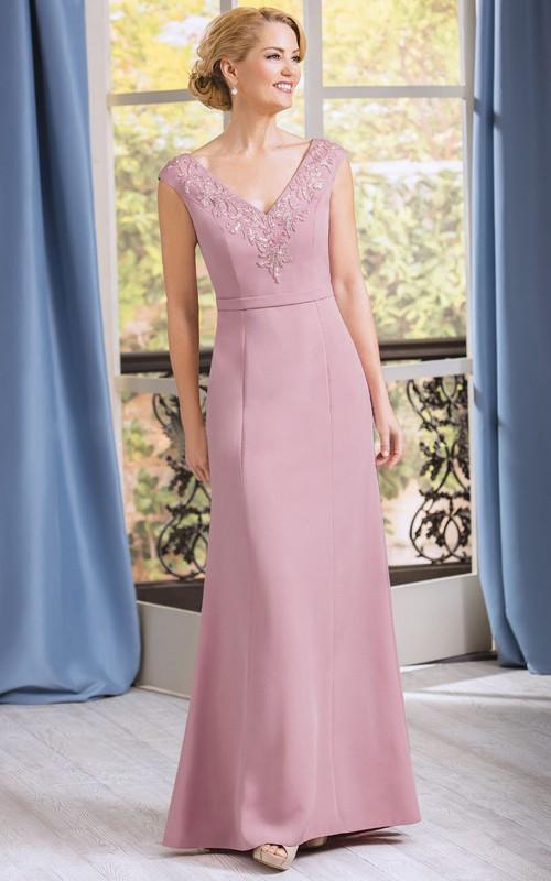 Appliqued Jewels Cap-Sleeved V-Neckline Mother Of The Bride