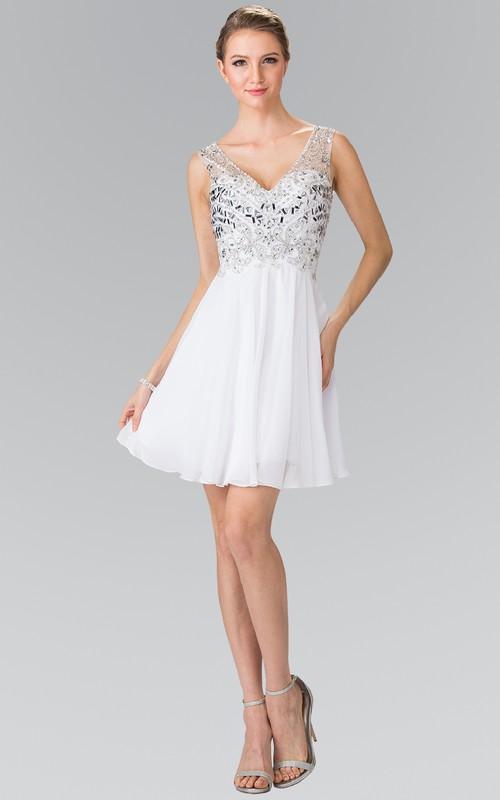 A-Line Short V-Neck Empire Chiffon Low-V Back Dress With Beading And Pleats