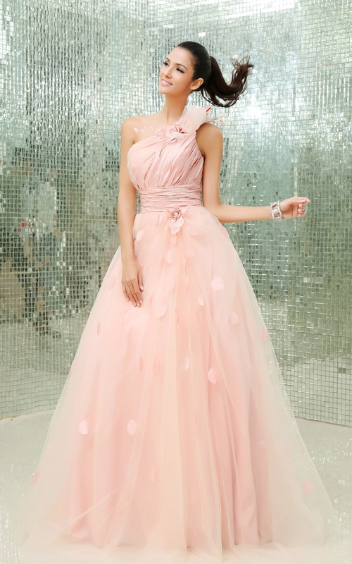 Asymmetrical Soft Tulle One-Shoulder Floral A-Line Ball Gown