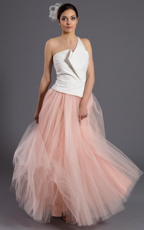 Two-tone One-shoulder A-line Front-split Dress With Tulle skirt