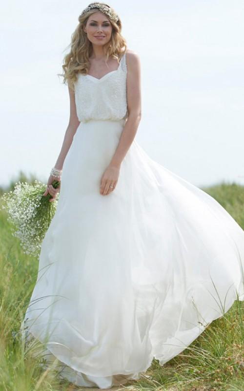 flowy Sleeveless Chiffon Lace Wedding Dress With Low-V Back