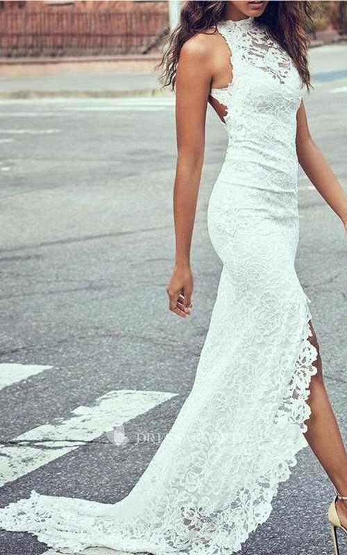 Sexy Lace Sheath Halter Sleeveless Keyhole Split Front Wedding Dress