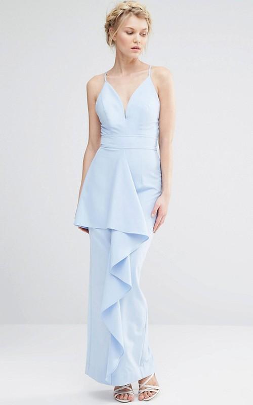 Sheath Floor-Length Spaghetti Splited Chiffon Bridesmaid Dress With Draping And Straps
